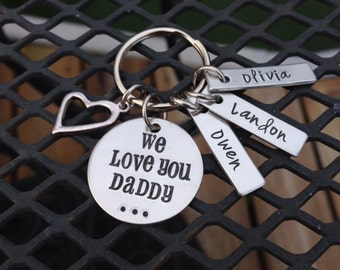 Hand Stamped Daddy Keychain, personalized with children's names, your choice of charms
