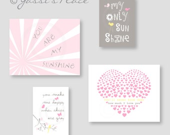 Pink CANVAS ART, Baby Girl Nursery Decor, You Are My Sunshine, Kids wall art in Pink Gray and Yellow by YassisPlace ESH-053