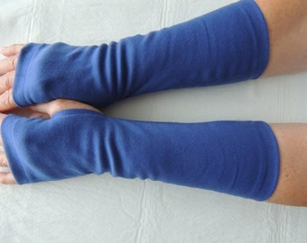 Blue,Royal Jersey Fingerless Gloves, Jersey Arm Warmers, Texting Gloves, Driving and cycling Glove, Hand Warmers, Biking Glove, Jersey Mitts