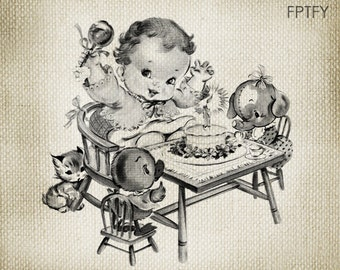 Cute Vintage Baby Image Birthday Girl LARGE Digital Vintage Image Download Sheet Transfer To Totes Pillows Tea Towels T-Shirts 200