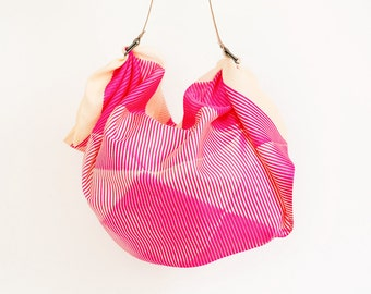 Folded paper furoshiki bag (Pink) & Tan leather carry strap set