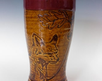 A Red and Dark Gold Fox Tumbler Mid-Large