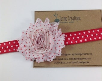Valentines Headband Red Polka Dot Headband White & Red Polka Dot Shabby Flower Headband