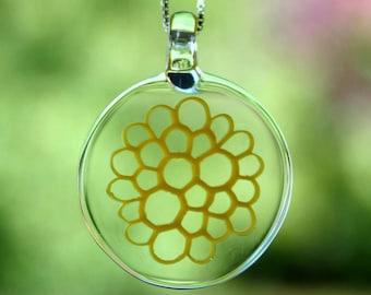 "yellow dahlia blown glass pendant on an 18"" silver box chain"