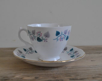 Royal Vale china tea cup and saucer - Teal leaf vine