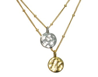Dangling Karats. Sun and Moon necklace. Hammered disks with gold fill or sterling silver chains. mixed metals