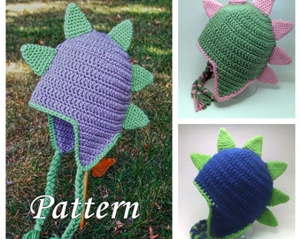 CROCHET PATTERN: Crochet Earflap Dinosaur or Dragon Hat, Crochet Boys Dragon Hat, Girls Dinosaur Hat, Crochet Dragon Pattern, Crochet Dino