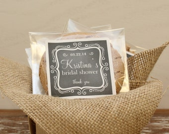 24 Personalized Cellophane Cookie Bags, Candy Bags - Chalkboard Label - Chalkboard Bridal Shower Favor, Baby Shower Favor, Wedding Favor