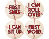 Baby's First Milestone Stickers, I Can Crawl, I Can Walk, First Tooth, First Word, First Smile, and More, Boys Monthly Stickers (B018-M)