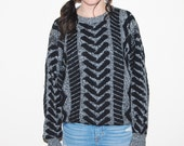 Vintage Sweater Black Chevrons with Grey 80s