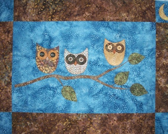 KIT: Night Owls Wall Hanging Quilt Pattern and KIT