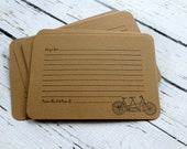 Set of 10 Vintage Inspired Kraft Recipe Cards - Tandem Bike