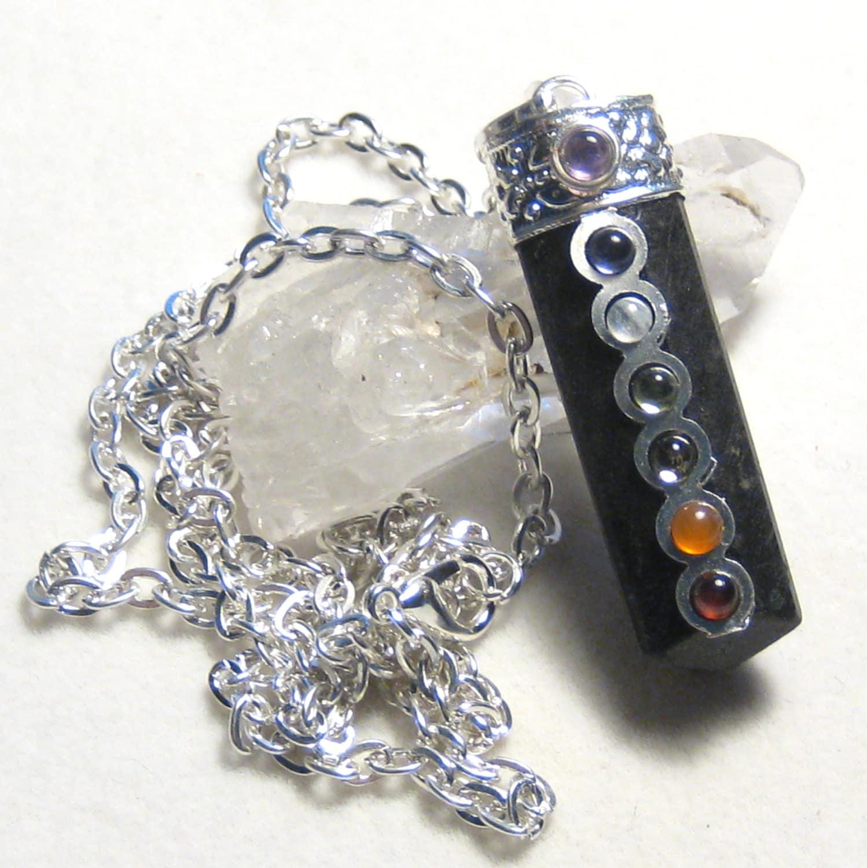 black tourmaline chakra pendant necklace by shadowsandspirits