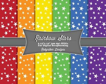 INSTANT DOWNLOAD: Rainbow Stars Digital Scrapbook Paper 6 Pack