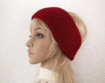 Crochet headband, head wrap, ear warmer - paprika red -Women's Winter Fashion Winter AccessoriesGift for her by Sandy Coastal Designs