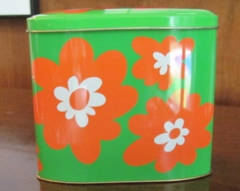 Vintage 70's Atomic Neon Orange and Lime Green Daisies Tin - England - Collectible - Office - Kitchen - Container - English Tin