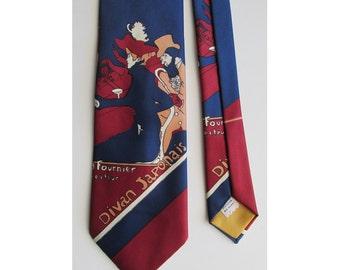 1970's Mod Toulouse Lautrec motif  Tie , from Kleinhans Dept. Store, Buffalo NY
