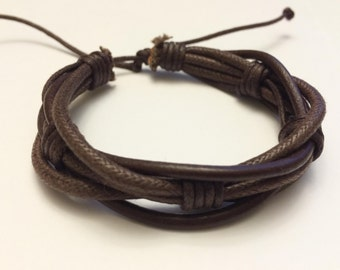 Round Brown hemp Ropes interlaced with Brown leather Bracelet