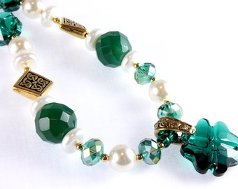 St. Patrick's Day Necklace, Swarovski Four Leaf Clover