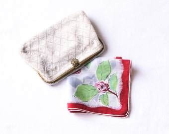 Vintage Floral Hanky - Red & Pink Rose Flowers on Gray Hankie - Linen Handkerchief Flower Bouquet with Green Leaves