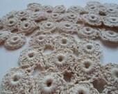 Pretty Vintage crochet  six Cream  ivory colored Handmade Coasters plus  3 extra Mats