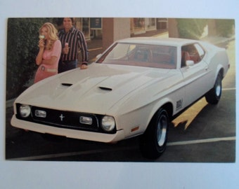 Vintage 1972 Ford  white Mustang Mach 1 2 door sports roof  Car Auto  Dealer Advertising postcard