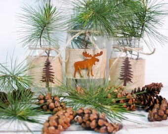 Moose Lodge Trio of Mason Jars, cabin decor, rustic decor, table decor, seasonal decor, lodge decor, rustic wedding, table centerpiece