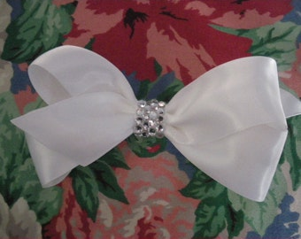 First Communion/Wedding  White or Ivory Satin Bow with Rhinestone Center