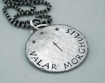 Valar Morghulis Coin Necklace - Hand Stamped Sterling Silver - Game of Thrones Jewelry