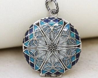 Locket, Silver Locket,Blue Locket,filigree locket necklace,Jewelry Gift,vintage styhle locket,Wedding Necklace,bridesmaid necklace