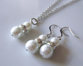 White bridal jewelry set  - White bridal necklace and earrings - Bridesmaids set