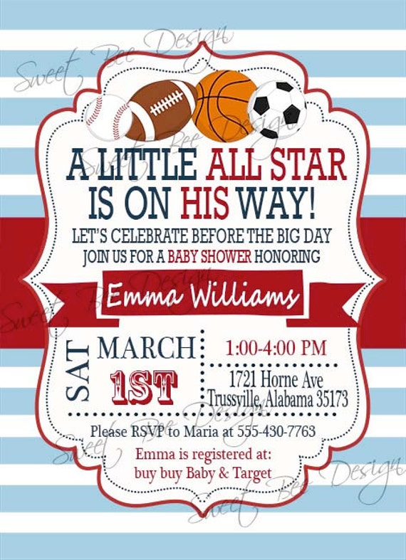 Sport Themed Baby Shower Invitations For Boy with amazing invitations design