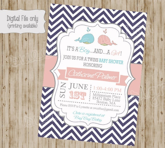 twin whale baby shower invitation whale baby shower whale baby shower twins baby