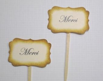 10 Cupcake Toppers - cupcake picks - Merci - Paris Wedding Decoration Favors - Food Picks - Bridal Shower - Baby Shower - Tea Party Favors