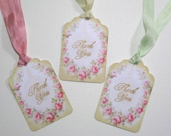 10 Marie Antoinette Vintage Wedding Tags with Wreath of Roses- Shabby Chic Wedding - Thank You Tags - Bridal Shower Tags - Quince Favor Tags