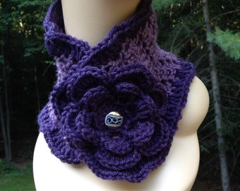 Purple Ruffle Flower Scarf