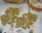 Venice Applique Trim - 2 PCS Gold Flower  Applique Lace (A91)