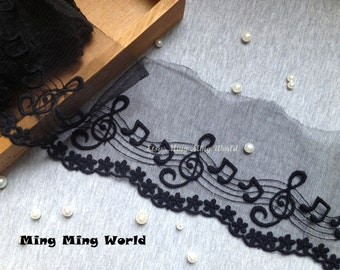 Black Cotton Net Lace Trim -2 Yards Happy Musical Notes Lace Trim(L173)