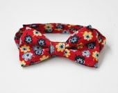Red Yellow and Blue Floral Bow Tie for Infant, Toddler, and Boy with Velcro Closure - Ready to Ship - RTS - Clearance Sale