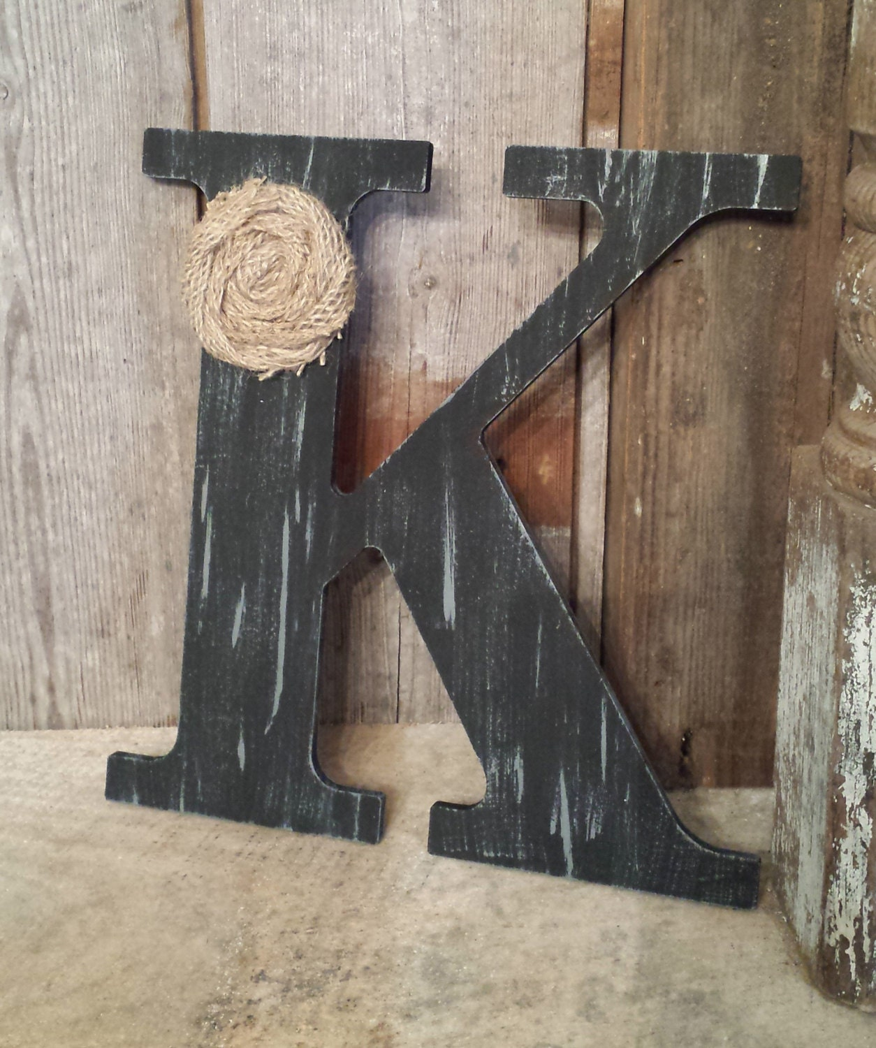 black rustic chic wooden letter k home decor letters burlap. Black Bedroom Furniture Sets. Home Design Ideas