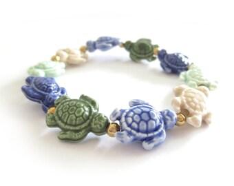 Turtle Multi-Color Porcelain Beaded Stretch Bracelet
