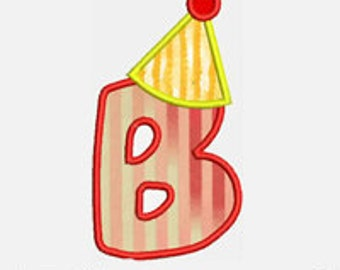Birthday Hat  Alpha A to Z...Embroidery Applique Design...Two sizes for multiple hoops...Item1506...INSTANT DOWNLOAD