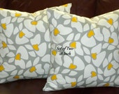 Decorative Throw Pillows / Cushion Covers/ Accent Pillows - Set of Two 18 Inch - Grey, Yellow and White