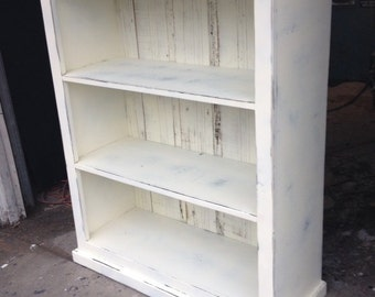 Bookcase antique white distressed shabby chic