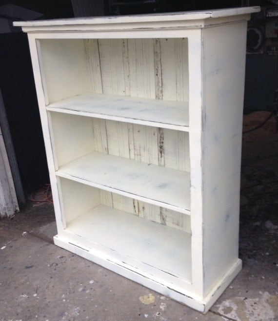 Bookcase Antique White Distressed Shabby Chic By