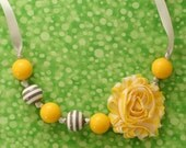 Yellow and Gray Gumball Chunky Bead Necklace with Yellow and White Chevron Fabric Flower