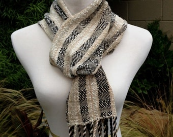 Black Straw Handwoven Scarf