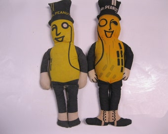 Very Old Rare Planters Mr. Peanut Collectible Dolls 2 for Price of 1 Adorable Stuffed Loveable Rag Doll Style Planters Peanut Advertisement