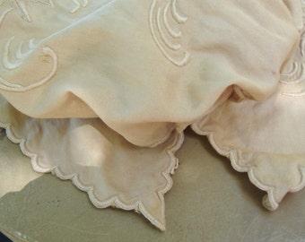 Vintage Hand Dyed Tea Color Cotton Antique Style Embroidered Child Bonnet Victorian Style Bonnet Victorian Costume 127 450