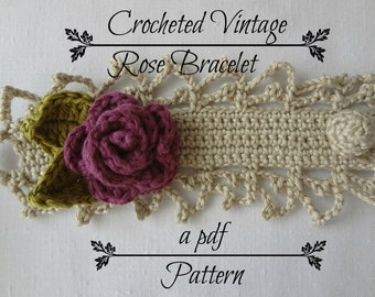 Crocheted Vintage Rose Bracelet PDF Pattern - photo tutorial, crochet pattern, crocheted bracelet, corsage, headband